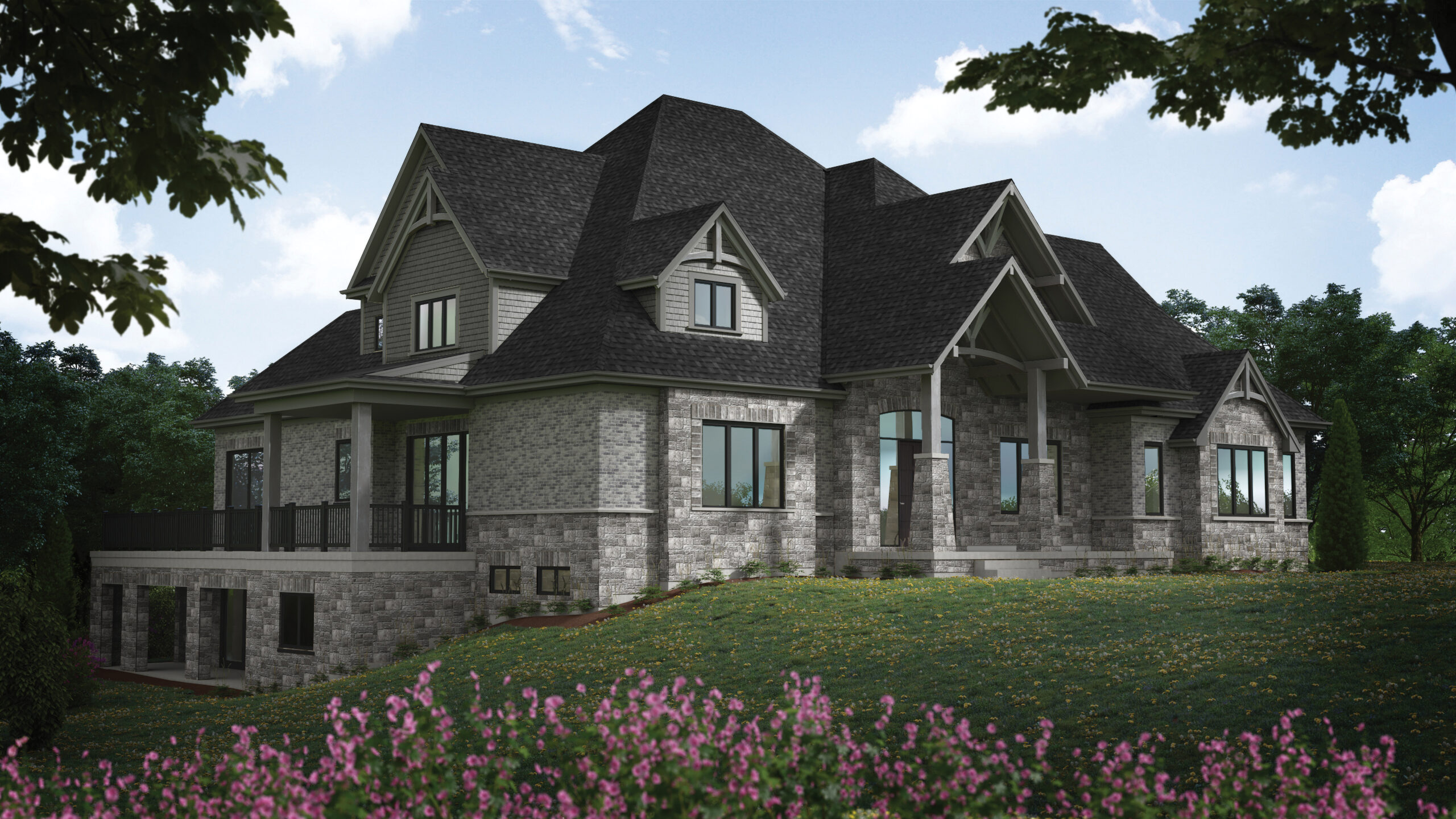 Digital Rendering of Hall's Lake Estates Luxury Model Home Exterior