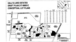 Hall's Lake Estates Development map with lot area size